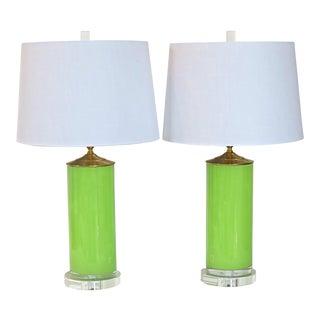 C. Damien Fox Retro Chartreuse Glass Column Lamps - A Pair