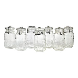 Large Kitchen Glass Canning Jars, Set of 7
