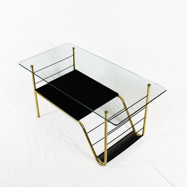 1960s Coffee Table by Pierre Guariche, Brass, Bronze, Opaline, Glass - France For Sale - Image 6 of 9