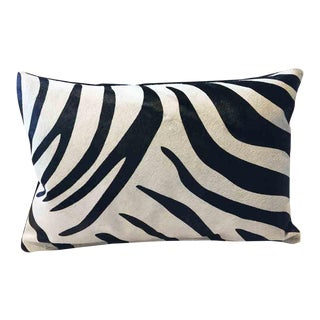 Zebra Stripe Cowhide Accent Pillow For Sale