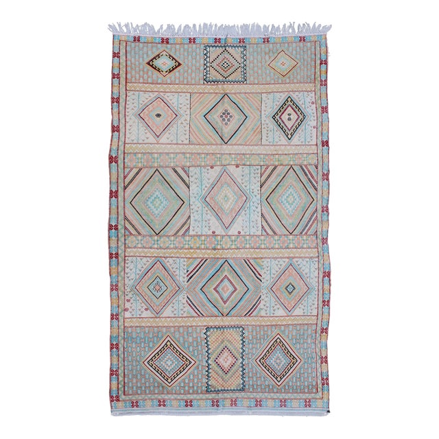 Keivan Woven Arts, S12-0303, Vintage Mid-Century Embroidered Moroccan Rug - 5′ × 9′ For Sale
