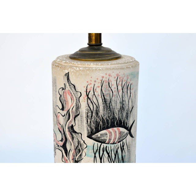 1940s Tye of California Hand Painted Cylinder Table Lamp For Sale - Image 9 of 10