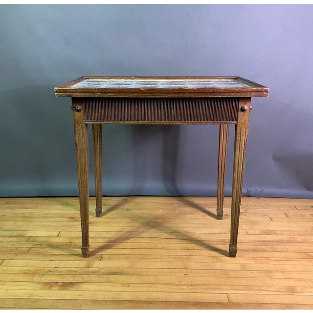 Louis XVI 19th Century Louis XVI Style Table, Manganese Faiance Tiles For Sale - Image 3 of 10