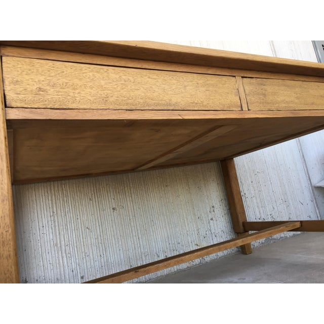 Pine Mid Century Modern Pine Desk With Two Drawers For Sale - Image 7 of 13