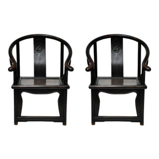 Late 19th Century Chinese Antique Ladies' Yoke Back Chairs-A Pair For Sale