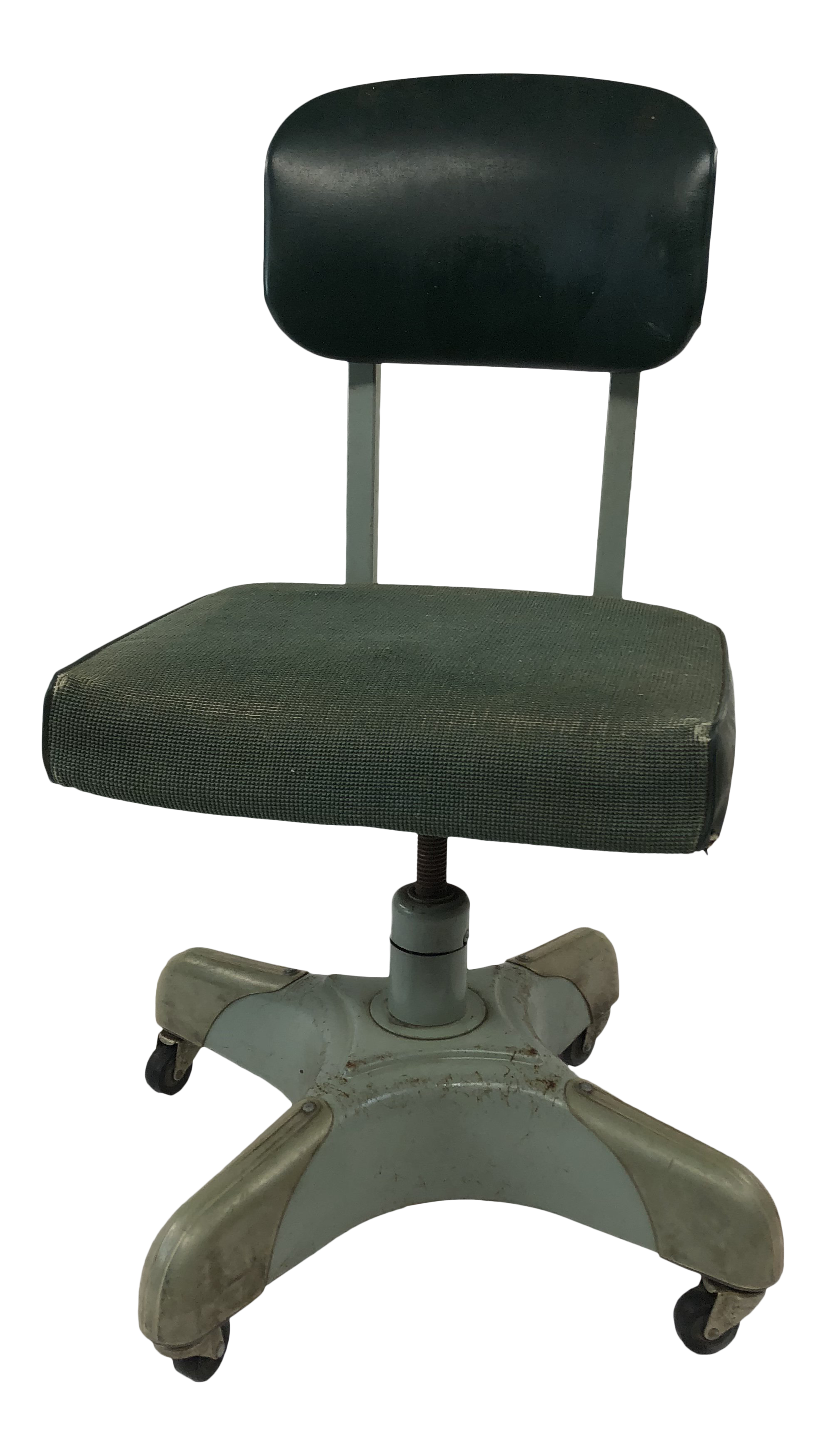 Vintage Metal Office Chair Tanker Vintage Industrial Metal Office Chair With Green Upholstery By Harter For Sale Chairish Vintage Industrial Metal Office Chair With Green Upholstery By