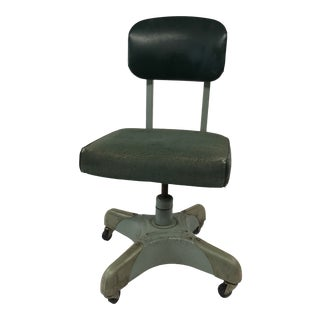 Vintage Industrial Metal Office Chair With Green Upholstery by Harter For Sale