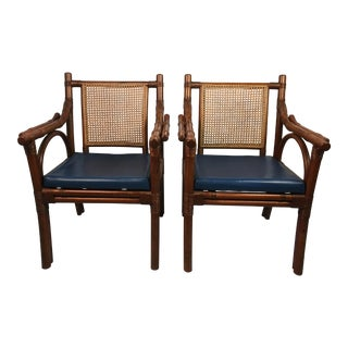 1960s Boho Chic Rattan Side Chairs - a Pair For Sale