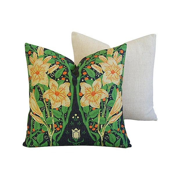Yellow Star Blossom And Fruit Pillows - Pair - Image 6 of 7