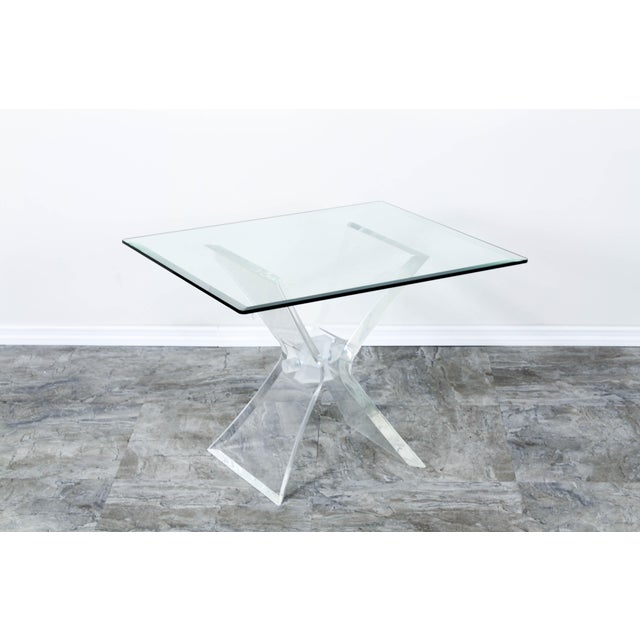 Lucite Butterfly X Base Side Table For Sale - Image 10 of 10