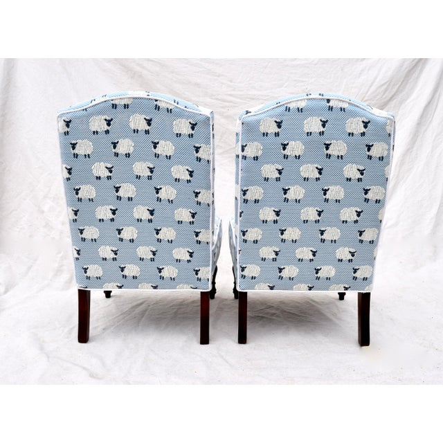 """Scalamandre, """" Ewe Too in Blue"""" Petite Antique Slipper Chairs For Sale - Image 11 of 13"""