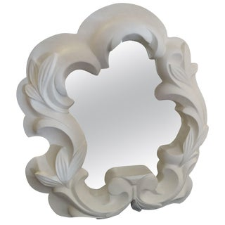 1940s Molded Plaster Asymmetrical Shaped Mirror For Sale