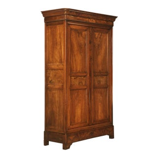 Circa 1830 French Louis Philippe Figured Walnut Armoire-Époque For Sale