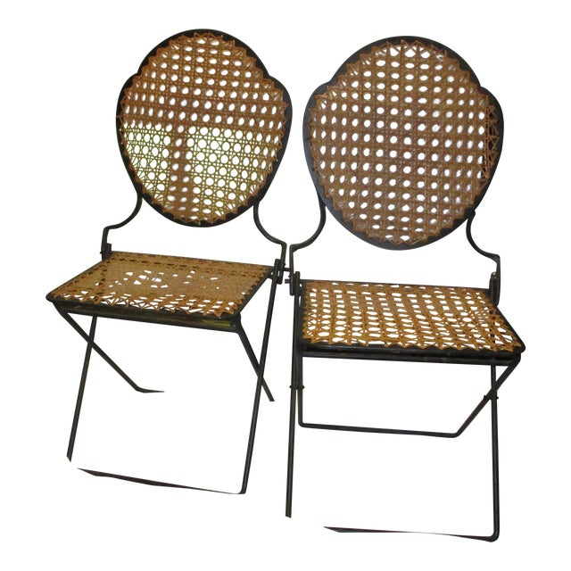 French Iron Beach Chairs With Cane Seats - A Pair - Image 1 of 11