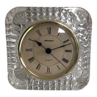 Vintage 1960s Staiger Lead Crystal West Germany Desk Clock For Sale