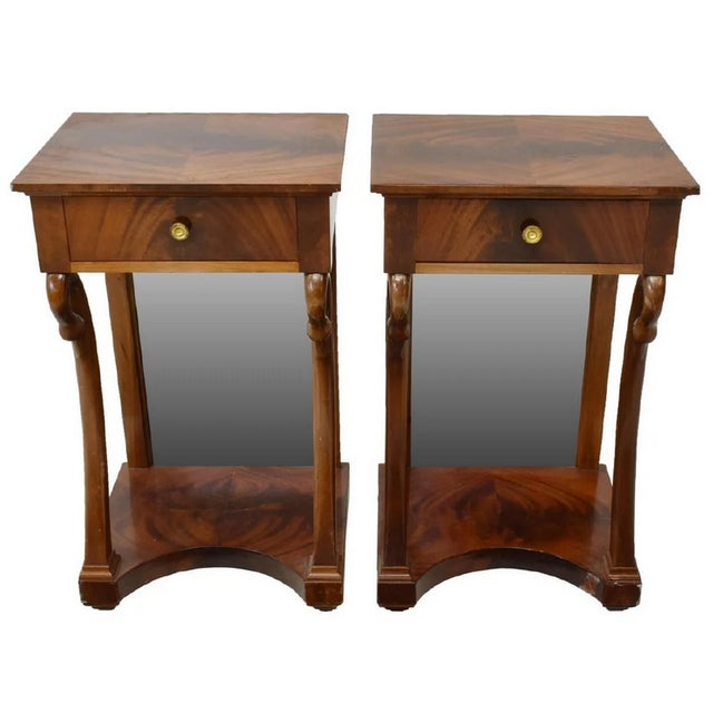 Wood Antique French Empire Bookmatched Mahogany Swan Head Nightstand or Side Table - a Pair For Sale - Image 7 of 7