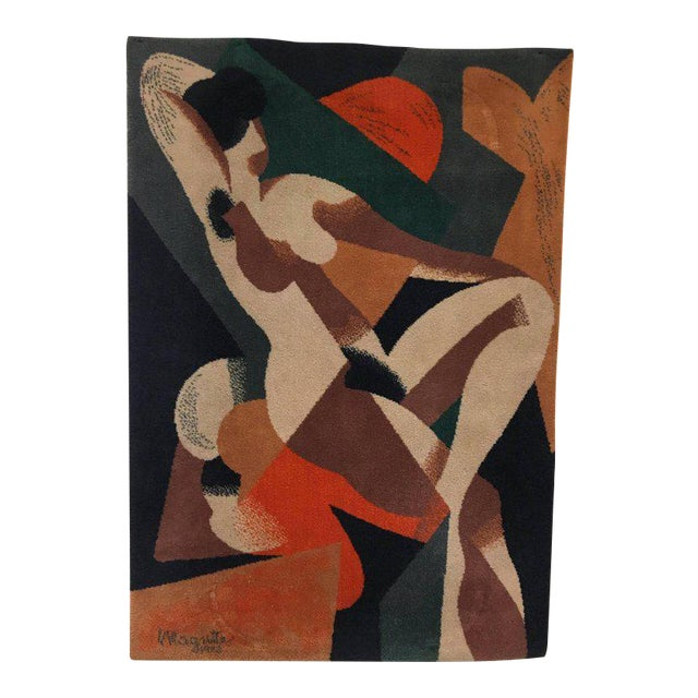 Wool Scandinavian Rug or Tapestry in the Style of René Magritte - Image 1 of 6