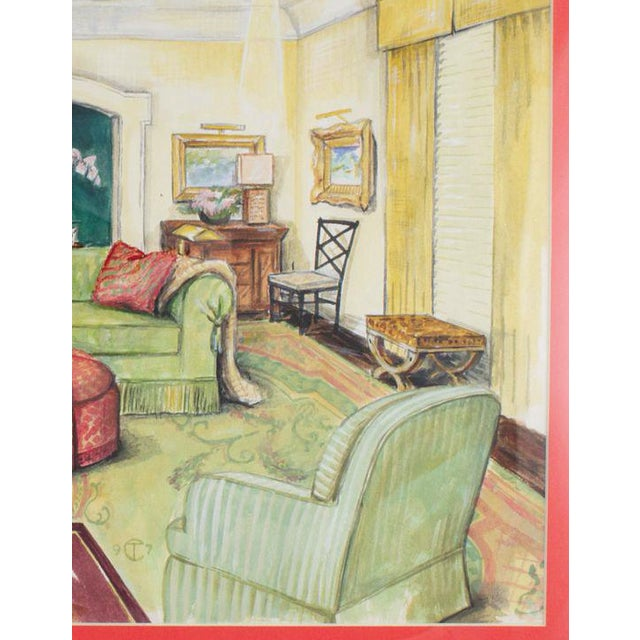 Elegant interior watercolour depicting a stylish celedon colour palette living room signed '9 TC 7'!
