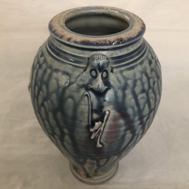 Artisan Crafted Blue & Purple Drip Glaze Vase For Sale - Image 4 of 8