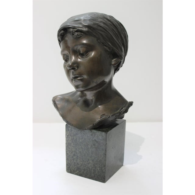 Antique Edouard Rossi of Naples.Bronze Sculpture of a Young Girl For Sale In West Palm - Image 6 of 13