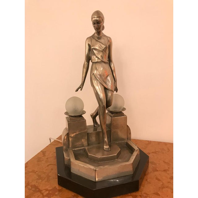 Art Deco Female Bronze Table Lamp Signed by Fayral - Image 4 of 11