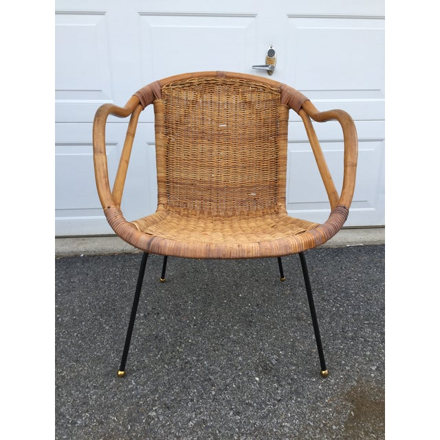Calif-Asia Bamboo and Wicker Arm Chair For Sale - Image 12 of 12