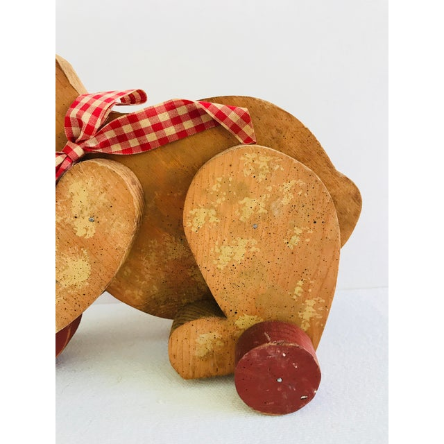 Red Vintage Primitive Wood Teddy Bear on Rolling Wheels For Sale - Image 8 of 11