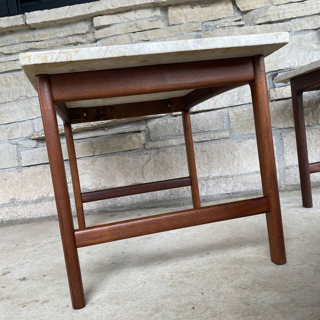 1950s Danish Modern Dux Folke Ohlsson Travertine Top Tables - a Pair For Sale - Image 9 of 12