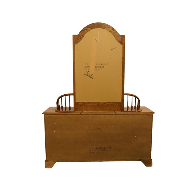 """20th Century Traditional Lexington Furniture Recollections Collection Solid Oak 64"""" Triple Door Dresser with Mirror For Sale - Image 10 of 13"""