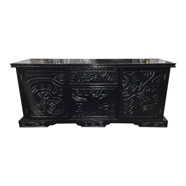 Brutalist Carved Wood Lacquered Credenza by Witco For Sale