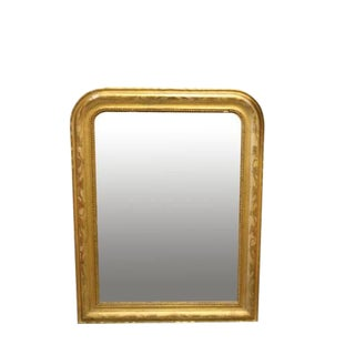 Louis Philippe Gold Leaf Mirror With Vine Detail & Original Glass For Sale
