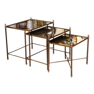 Midcentury French Brass and Églomisé Glass Nesting Tables From Maison Baguès For Sale