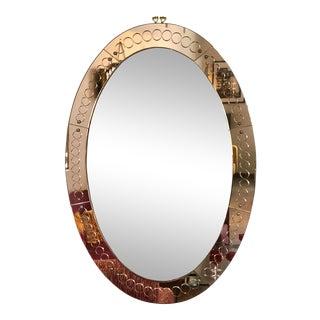 Large Mid Century Modern Italian Cristal Arte Oval Glass Mirror For Sale