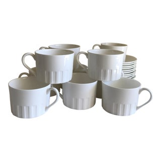 Wedgwood White China Cups & Saucers - Set of 10