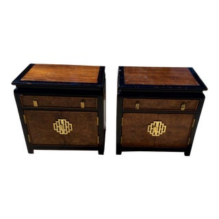 Century Burled Asian Motif Night Stands-a Pair For Sale