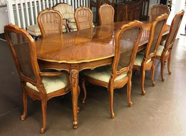 vintage thomasville french court dining table chairs set of 9 rh chairish com thomasville kitchen table and chairs