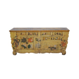 Chinese Distressed Yellow Oriental Flower Graphic Tv Console Cabinet For Sale