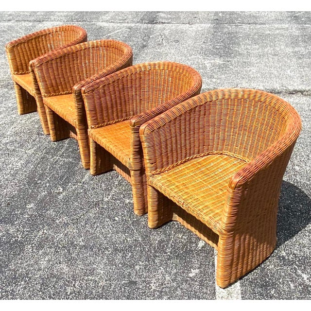 Chocolate Vintage Boho Chic Rattan Barrel Chairs -Set of 4 For Sale - Image 8 of 13