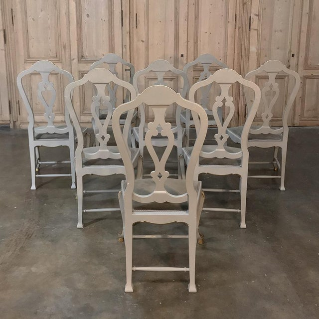 Eight 19th CenturyPainted and Gilded Italian Dining Chairs- Set of 8 For Sale - Image 4 of 13