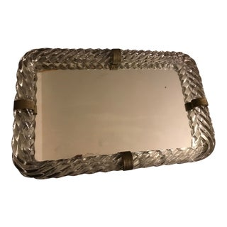 1940s Hollywood Regency Murano Glass Mirrored Vanity Tray For Sale