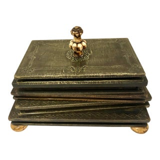 Vintage Faux Books Metal on Wood Lidded Coffee Table Box With Bone Knob & Ball Feet For Sale