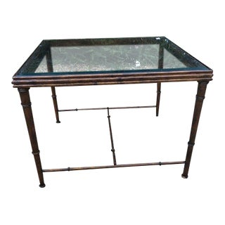 Vintage Faux Bamboo Copper Finish Coffee / Side Table For Sale