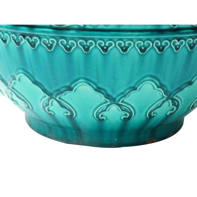 Traditional Turquoise Majolica Planter For Sale - Image 3 of 4