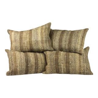 "Matching 16"" X 20"" Lumbar Vintage Turkish Kilim Pillow Covers - Set of 4 For Sale"