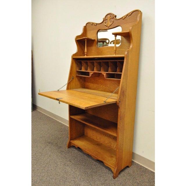 Antique Victorian Golden Oak Slant Drop Front Secretary Desk