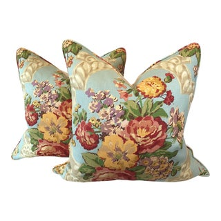 Lee Jofa Floral Linen Pillows - A Pair