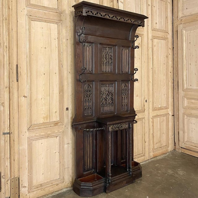 French Gothic Revival Hall Tree dated 1829 is a splendid example of hand-sculpted genius! Meticulously carved from solid...