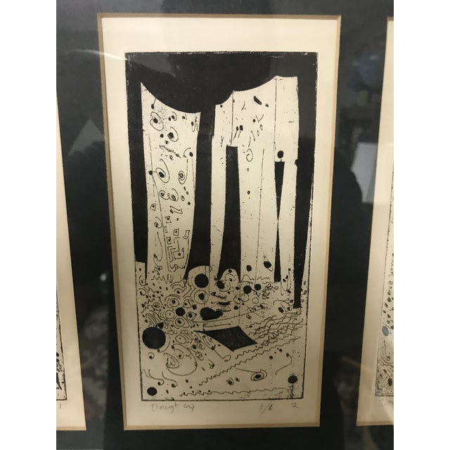 1960s 1960s Vintage Mid-Century Modern Abstract Trio Block Print Signed Voigt For Sale - Image 5 of 12