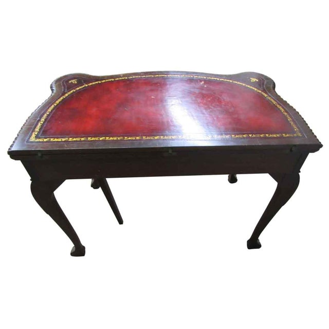 Red Leather Top Console Table For Sale - Image 8 of 10