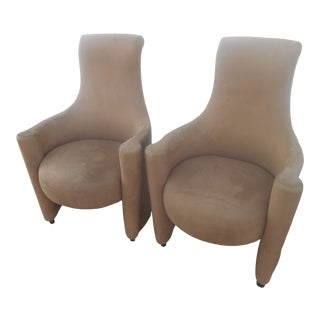 Stunning Designer Weiman Suede Throne / Fireside Chairs- a Pair For Sale